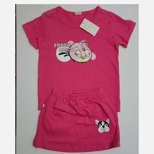 Toddler Girl's 2 Pc Outfit Pink T Shirt/Skirt